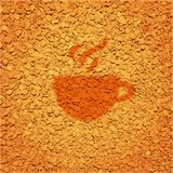 Background with crumbled instant coffee. And cup Stock Photos
