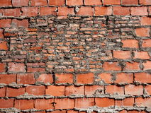 Background Of Crumbling Red Brick Wall Royalty Free Stock Photos