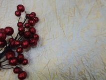 Background of crumpled light paper and branches of red berries Royalty Free Stock Photos