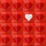Background with crystal hearts. Red crystal hearts with one different white heart. Abstract seamless vector background Stock Photo