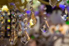 Background of the crystals in the store of light bulbs and lamps.  stock photos