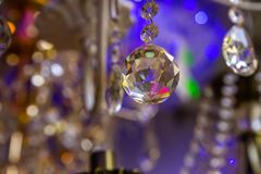 Background of the crystals in the store of light bulbs and lamps.  stock photography