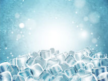 Background with cubes of transparent ice. Highly detailed realis. Background with lots of cubes of transparent ice. Highly detailed realistic illustration Royalty Free Stock Images