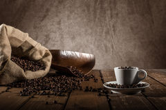 Background of cup of coffee beans royalty free stock image