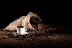 Background of cup of coffee beans royalty free stock photo