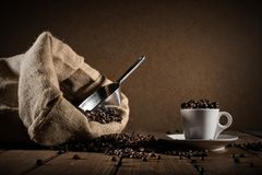 Background of cup of coffee beans royalty free stock photography