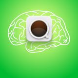 Background of cup coffee and brain. Vector Royalty Free Stock Images