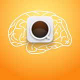 Background of cup coffee and brain. Vector Stock Photography