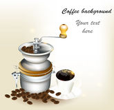 Background with  cup of coffee, grains Stock Photos