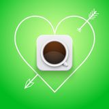 Background cup of coffee and heart with arrow. Stock Photography