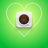 Background cup of coffee and heart. Royalty Free Stock Images