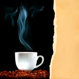 Background with cup of coffee and old ripped paper Stock Images