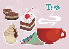 Background with cup of coffee or tea and sweet des. Vector drawing of the cup with tea? sweet desserts, cakes and serviette Royalty Free Stock Photos