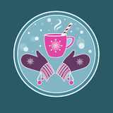 Background with a cup of hot tea/coffee and mittens Royalty Free Stock Photos
