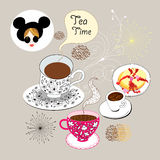 Background with a cup of tea Stock Photo