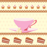 Background with a cup of tea and cakes Royalty Free Stock Images