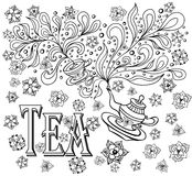 Background with cup, teapot, flowers  in doodle style in black white for coloring page Royalty Free Stock Image