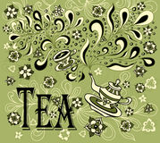 Background with cup, teapot, flowers  in doodle style Stock Images