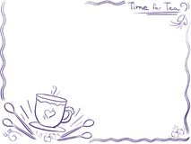 Background with cup and text Time for tea - menu design. Doodle. Background  - cup  with heart and text Time for tea - menu design. Doodle frame. Breakfasts Stock Photo