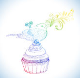 Background with cupcake and clockwork bird Royalty Free Stock Images