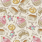 Background with cupcake, croissant, cake and bonbon Stock Photo