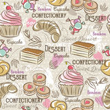 Background with cupcake, croissant, cake and bonbon. 