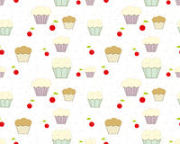 Background with cupcakes, cherries and colored chips. Wallpaper White color Vector seamless pattern Stock Photos