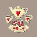 Background with cupcakes and teapots. Royalty Free Stock Image