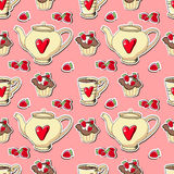 Background with cupcakes and teapots. Royalty Free Stock Photo