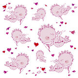 Background with cupids and hearts Royalty Free Stock Image