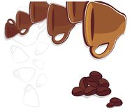 Background with cups and coffee beans. Vector drawing of the range of cups and coffee beans Stock Photos