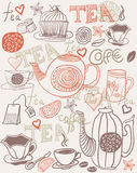 Background with cups and teapots in vector. Mage objects tea background and hearts in vector Royalty Free Stock Photography