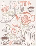 Background with cups and teapots in vector. Tea set  background with cups and teapots in vector Royalty Free Stock Photography