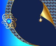 Background with curled corner and gold with  ornaments and pendants Royalty Free Stock Photos
