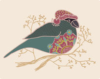 Background with cute bullfinch in hat Stock Images