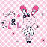 Background with cute bunny girl Royalty Free Stock Photos