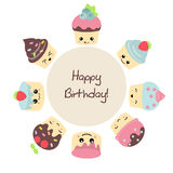 Background with cute cakes. Stock Image