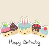 Background with cute cakes. Stock Photo