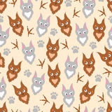 Background cute cartoon owl and cat . Royalty Free Stock Photos