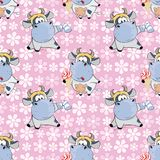 Background with Cute Cows for you Design. Seamless Pattern Royalty Free Stock Images