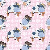 Background with Cute Cows for you Design. Seamless Pattern Stock Photo