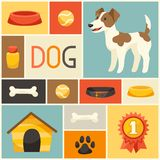 Background with cute dog, icons and objects Royalty Free Stock Photo