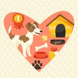Background with cute dog, icons and objects Stock Photos