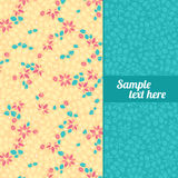 Background with cute flowers. Yellow and blue background with a pattern of flowers and leaves royalty free illustration