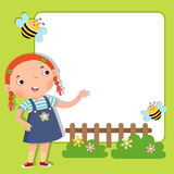Background with cute girl. Vector illustration of background with cute girl Royalty Free Stock Photography