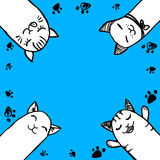 Background with cute hand drawn cats Stock Photo