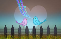 Background with cute heart and birds for valentine`s day. Royalty Free Stock Images