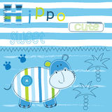 Background with cute hippo Royalty Free Stock Photos