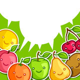 Background with cute kawaii smiling fruits Stock Image