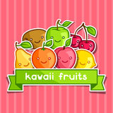 Background with cute kawaii smiling fruits Stock Photo